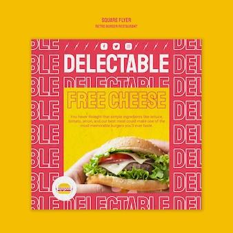 Modèle de flyer carré restaurant burger rétro