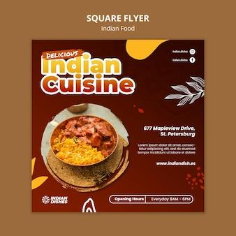 Modèle de flyer carré de restaurant de cuisine indienne