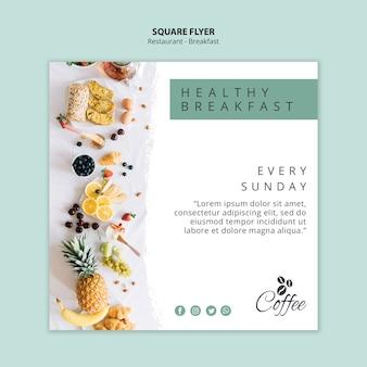Modèle de flyer carré de restaurant de petit déjeuner