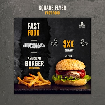 Modèle de flyer carré de restauration rapide