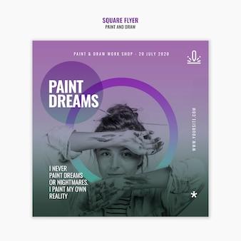 Modèle de flyer carré de rêves de peinture