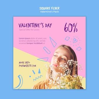 Modèle de flyer carré saint valentin