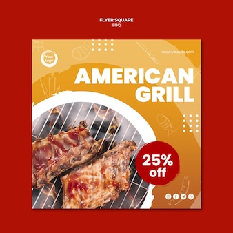Modèle De Flyer Carré Savoureux Grill Américain Psd gratuit