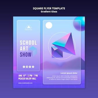 Modèle de flyer carré de spectacle d'art scolaire
