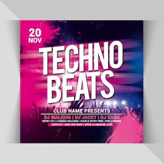 Modèle de flyer carré techno beats party