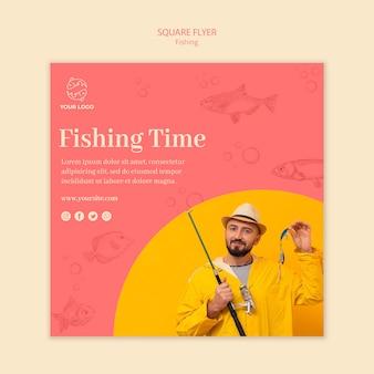 Modèle de flyer carré de temps de pêche