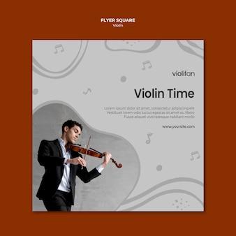Modèle de flyer de carré de temps de violon
