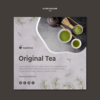 Modèle de flyer carré de thé original