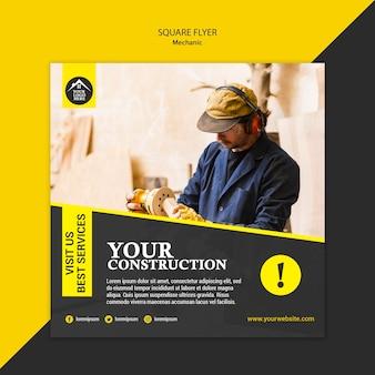 Modèle de flyer carré de travailleur manuel de charpentier