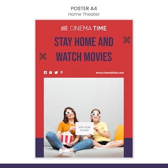 Modèle de flyer de cinéma maison