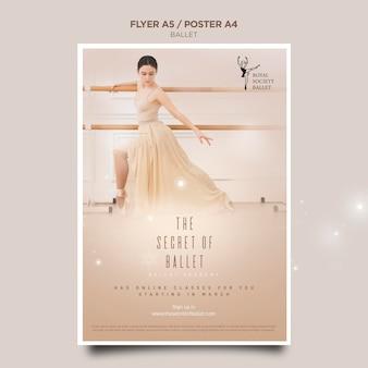 Modèle de flyer de concept de ballerine