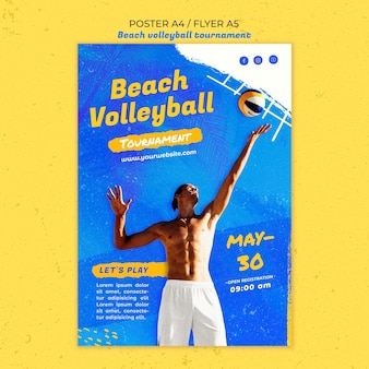 Modèle de flyer de concept de beach-volley