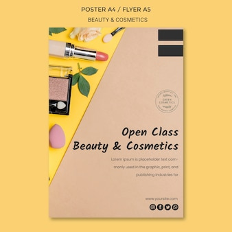 Modèle de flyer de concept de beauté et cosmétiques