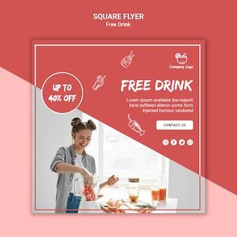Modèle de flyer de concept de boisson gratuit