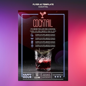 Modèle de flyer de concept de cocktail