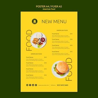 Modèle de flyer de concept de cuisine américaine