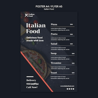 Modèle de flyer de concept de cuisine italienne