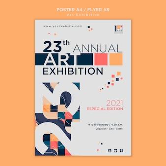 Modèle de flyer de concept d'exposition d'art