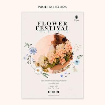 Modèle de flyer de concept de festival de fleurs