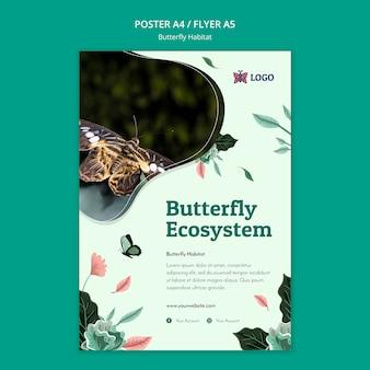 Modèle de flyer de concept d'habitat de papillon