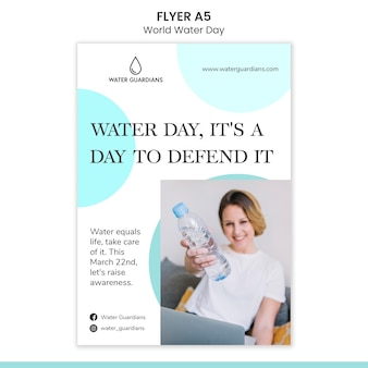 Modèle de flyer de concept de journée mondiale de l'eau