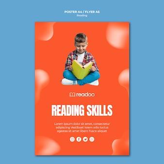 Modèle de flyer de concept de lecture