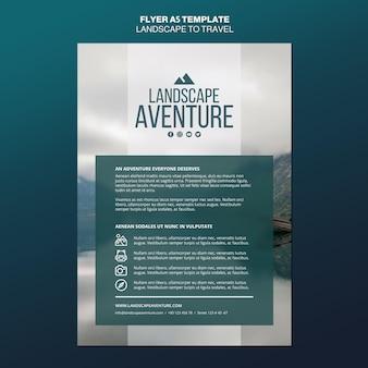 Modèle de flyer de concept de paysage pour le voyage