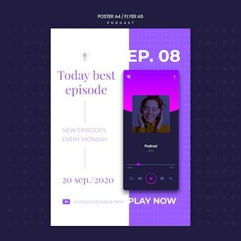 Modèle de flyer de concept de podcast