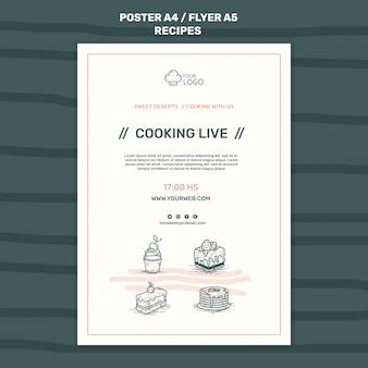 Modèle de flyer de concept de recettes