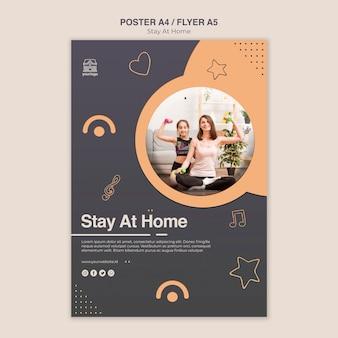 Modèle de flyer de concept rester à la maison