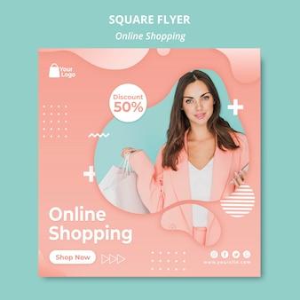 Modèle de flyer avec concept de shopping en ligne