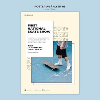 Modèle de flyer de concept de skate urbain