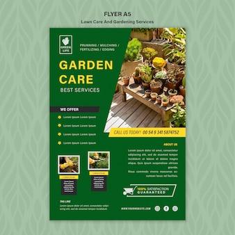 Modèle de flyer de concept de soins de pelouse