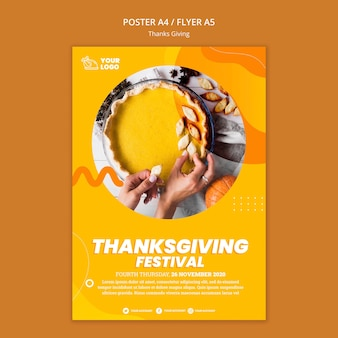 Modèle de flyer de concept de thanksgiving