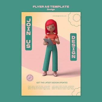 Modèle de flyer de conception 3d
