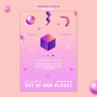 Modèle de flyer de concert de musique hors de notre planète