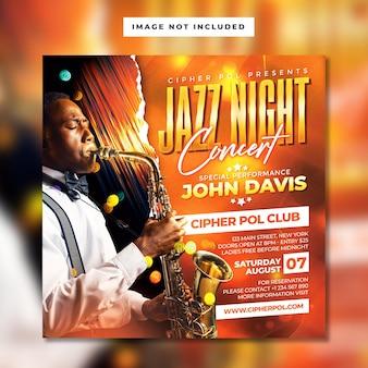 Modèle de flyer de concert de nuit de jazz