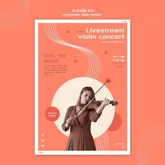 Modèle de flyer concert de violon en direct