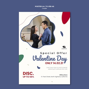 Modèle de flyer de couple saint valentin