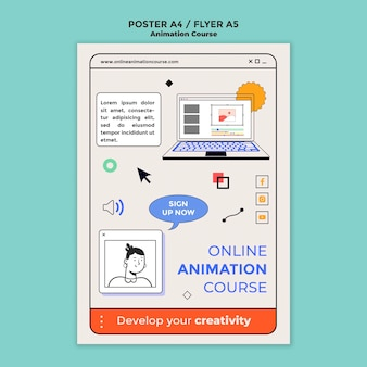 Modèle de flyer de cours d'animation en ligne
