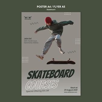 Modèle de flyer de cours de skateboard