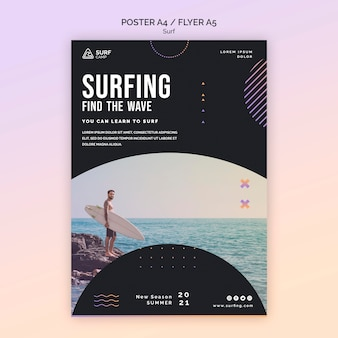 Modèle de flyer de cours de surf avec photo