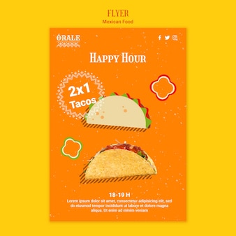 Modèle de flyer de cuisine mexicaine