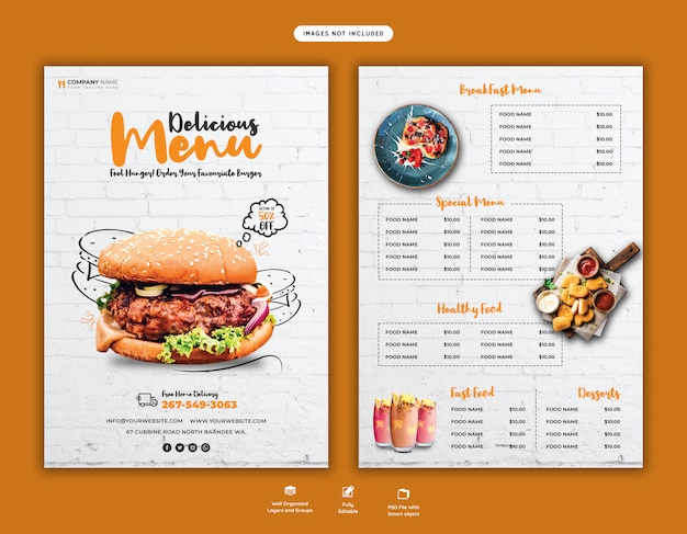 Modèle de flyer délicieux menu burger et nourriture