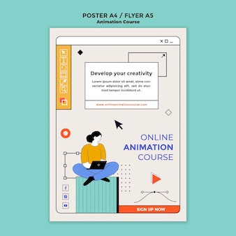Modèle de flyer de développement d'animation