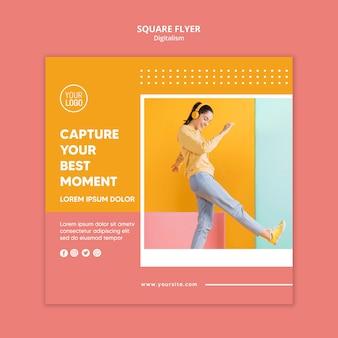 Modèle de flyer de digitalisme coloré avec photo