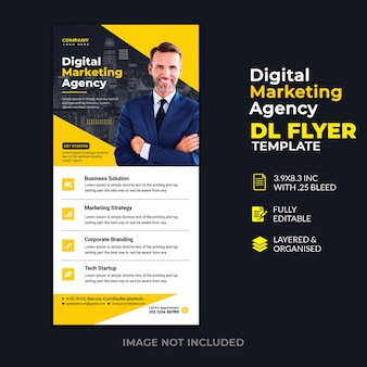 Modèle de flyer dl pour agence de marketing numérique