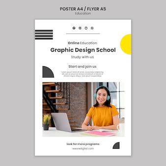Modèle de flyer école de design graphique