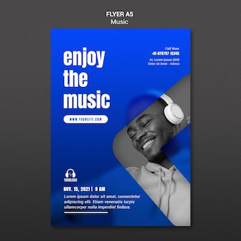 Modèle de flyer d'écoute de musique