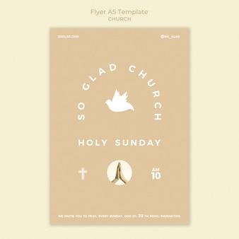 Modèle de flyer d'église monochromatique